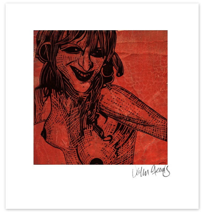 Courtney Love as a lino-cut on a crackled red background