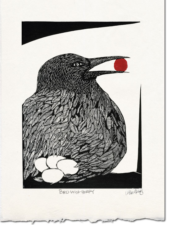 Bird With Berry ~ lino-cut ~ John Steins
