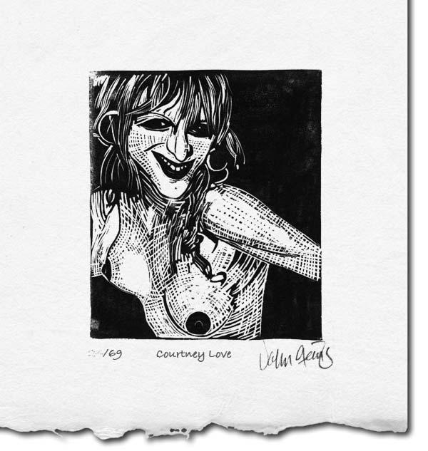 Linocut of the vulgar Courtney Love