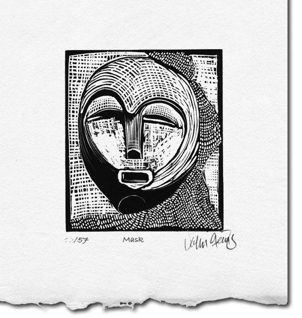 Mask ~ lino-cut ~ John Steins