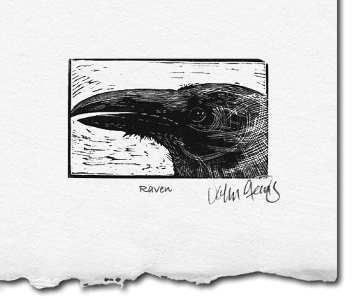 raven wood engraving