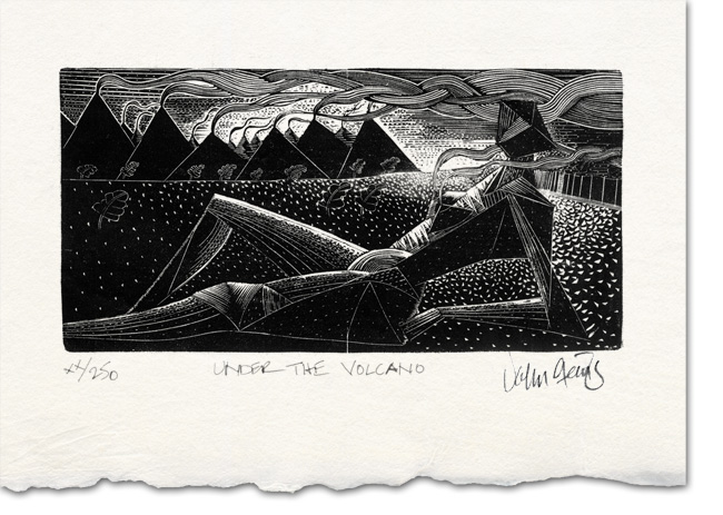 under volcano wood engraving