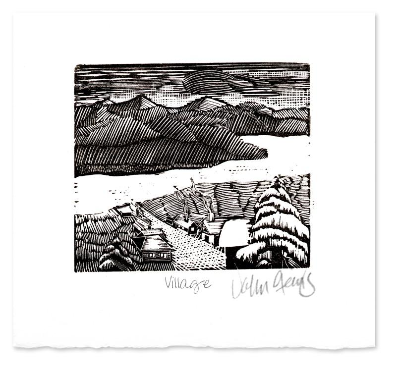 Village ~ Wood Engraving by John Steins