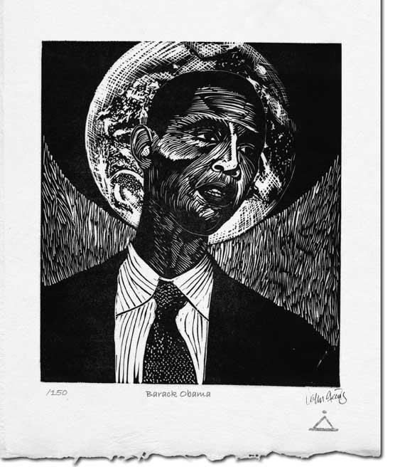 Barack Obama lino-cut ~ John Steins