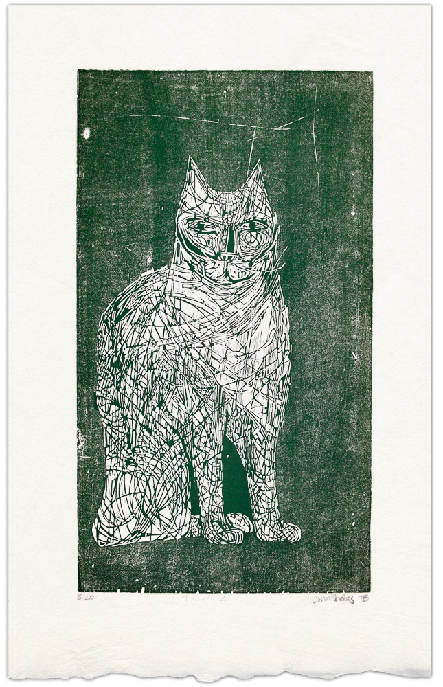 Thelonious the Cat. A woodcut done on a discarded cabinet door which was inked and printed on Japanese Washi paper