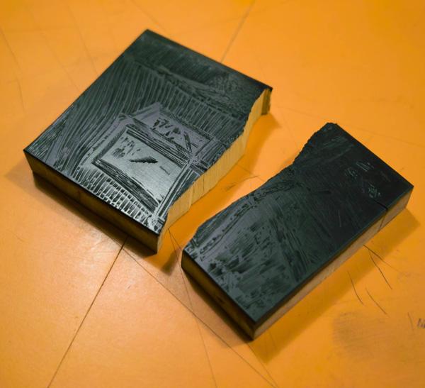 broken wood engraving block