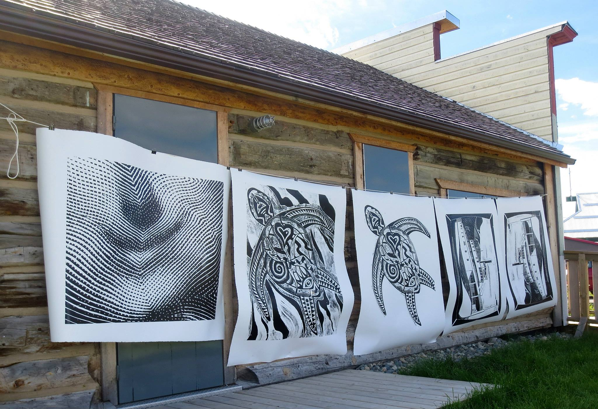 steamroller prints hanging to dry